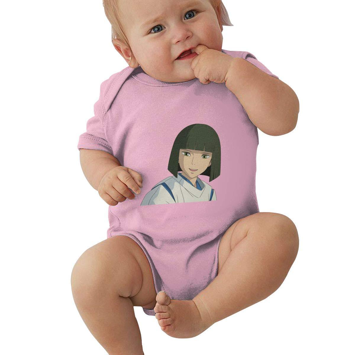 PORRO Baby Boy Girl O-Neck Short Sleeve Bodysuit Spirited Away Funny Crawling Clothes Black