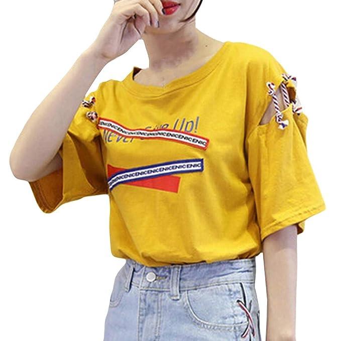 Blusa Hombre Yesmile Camiseta Chaleco de Manga Corta para Mujer del Chaleco de Manga Corta de impresión de la Letra de la Moda Top sin Mangas: Amazon.es: ...