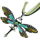 AKOAK Fashion Creative Bohemian Jewelry Ethnic Multi-layer Chain Colorful Enamel Dragonfly Pendant Necklace(Green)