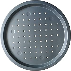 Nonstick Pizza Pan, 13 Inch Carbon Steel Pizza Tray with Holes, Round Pizza Bakeware for Oven Baking Pizza -Gray