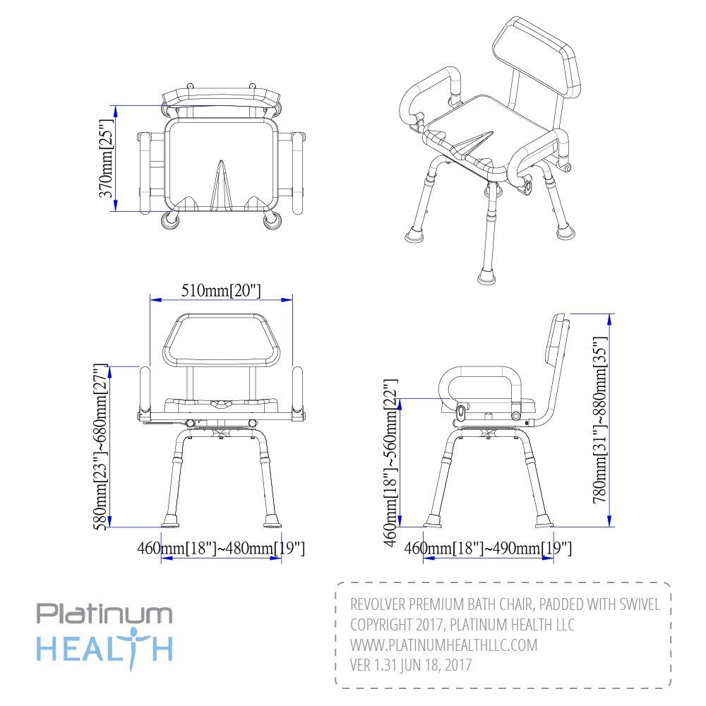 Platinum Health Revolution Pivoting Shower Chair with Padded Back and Arms by Platinum Health (Image #5)