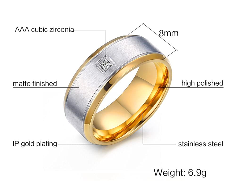 Bishilin Stainless Steel Round Cut AAA Cubic Zirconia Men Wedding Rings Silver Size 10