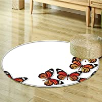 Round Rug Kid Carpet Monarch Butter ing From Bottom Right Corner Insect Weather Home Decor Foor Carpe-Round 71