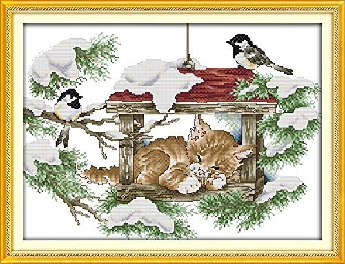 CaptainCrafts New Cross Stitch Kits Patterns Embroidery Kit - Deep Sleep Cat And Birds - Van Tread Cross