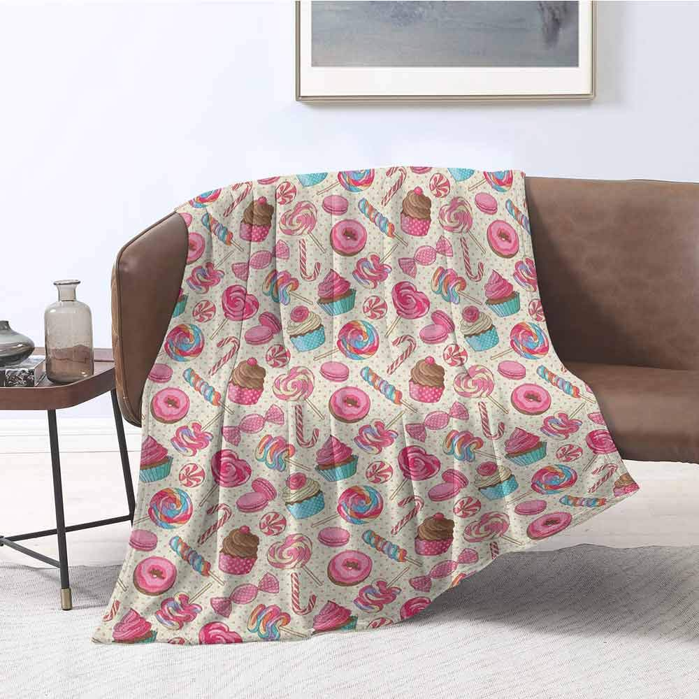 zojihouse Candy Cane Lightweight Blanket Yummy Sweet Lollipop Candy Macaroon Cupcake and Donut on Polka Dots Pattern W71xL90.5 Multicolor