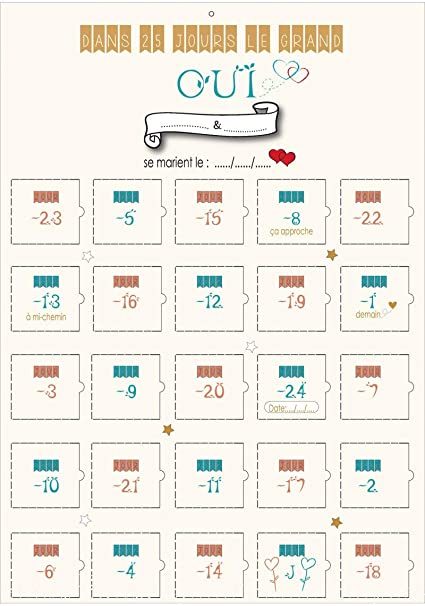 Calendrier Avant Mariage.Calendrier De L Avent Mariage Compte A Rebours 25 Jours