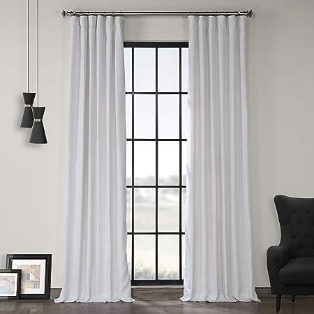 LN-XS1704-96 French Linen Curtain, Crisp White, 50 x 96