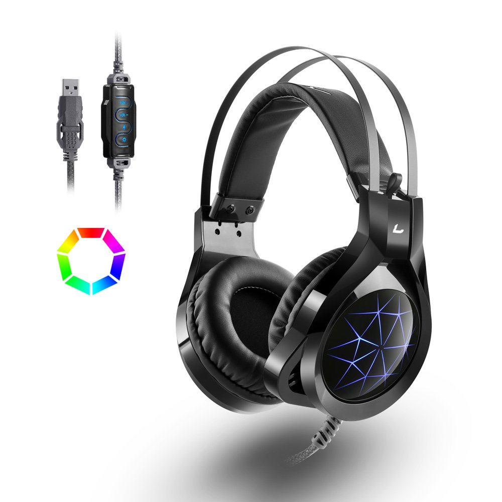 USB Headset,MAD GIGA PS4 Gaming Headset with 360 Degrees Mic USB 7.1 Surround Stereo Sound,PC Headset Gaming with Noise Isolation, Volume Control, Breathing LED Light for PC, PS4,Laptop, Xbox Switch Mac Gamers, Black