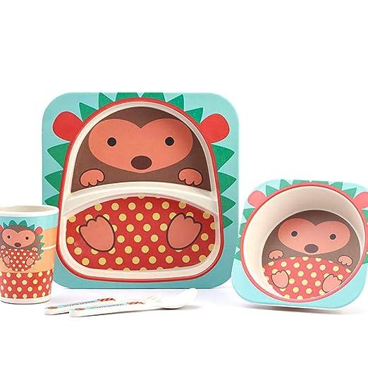lazeny Juego Vajilla Infantil, bebé cocina bambú 5 piezas ...