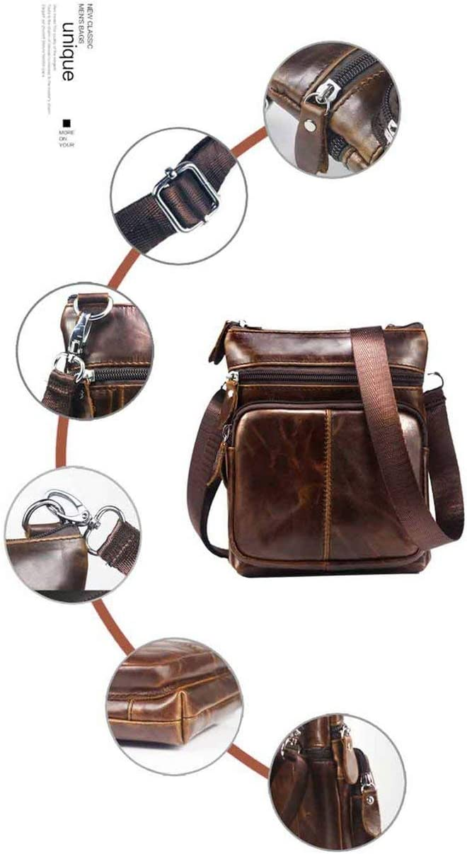 Mini Mens Genuine Leather Single Shoulder Bag Business Casual Mens Bag Fashion Leather Portable Sports Bag