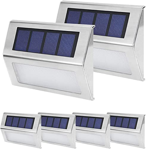 Solar Step Lights, SGLEDS 3 LED Outdoor Solar Powered Deck Lights Waterproof 6500K Cool White for Stairs, Backyard, Patio Garden and Fences, 6 Pack