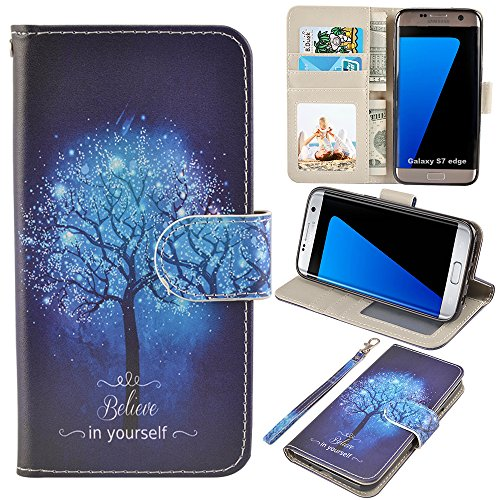 UrSpeedtekLive S7 Edge Case, Galaxy S7 Edge Wallet Case, Premium PU Leather Wristlet Flip Case Cover with Card Slots & Stand for Samsung Galaxy S7 Edge, Believe in Yourself (Best S7 Edge Wallet Case)