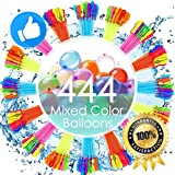 Water Balloons for Kids Girls Boys Balloons Set Party Games Quick Fill 444 Balloons 12 Bunches for Swimming Pool Outdoor Summer Fun YUX4 (Color May Vary)