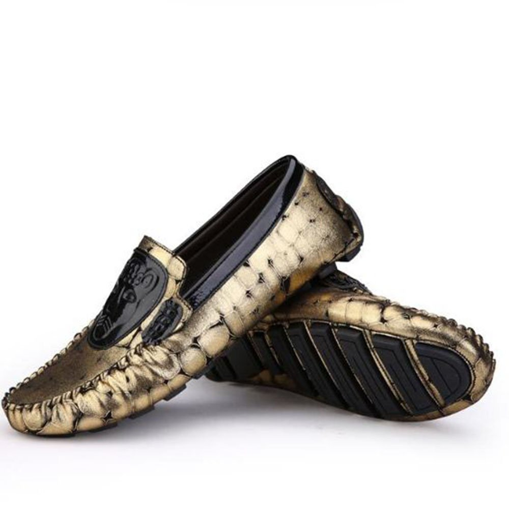 Ouyangyan Laufende Müßiggänger Herren Stiefelschuhe Casual Casual Business Entertainment Schuhe Stiefelschuhe Herren Gold b85012