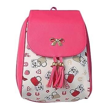 Lazo de las mujeres impresión suave para la espalda mochila escolar bolsa de viaje con cremallera doble hombro bolsa, Rosado: Amazon.es: Deportes y aire ...