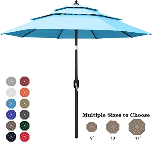 ABCCANOPY 10FT 3 Tiers Market Umbrella Patio Umbrella Outdoor Table Umbrella with Ventilation and Push Button Tilt for Garden, Deck, Backyard and Pool,8 RibsTurquoise