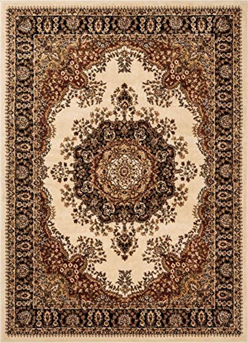 Well Woven Medallion Oriental Persian Area Rug Ivory 5×7 5 3 x 7 3