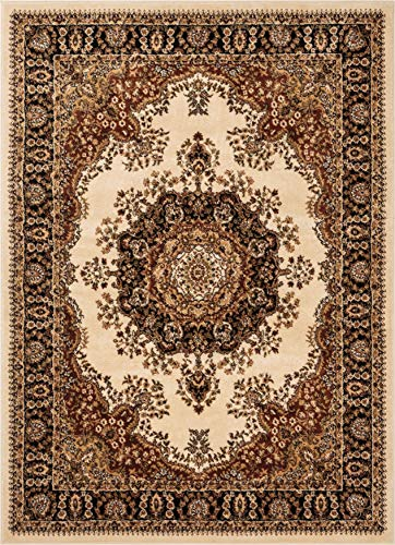 Well Woven Medallion Oriental Persian Area Rug Ivory 8x10 8x11 (7'10