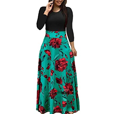 a28c4234c3d6 Womens Fall Winter Long Sleeve Casual Floral Print Long Maxi Dress Party  Dress, Green S