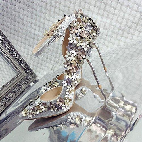 Zapatos de Tacón de Aguja de Punta de Moda Mujeres Rhinestone Zapatos UN