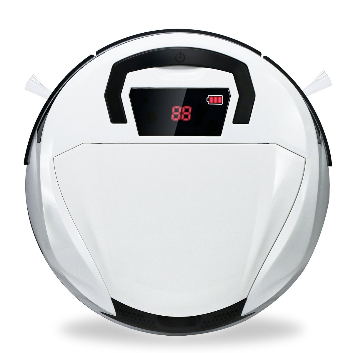 FINE DRAGON Robot Vacuum Cleaner with Portable Handle for Hardwood and Tile Floor (White B) F-AB