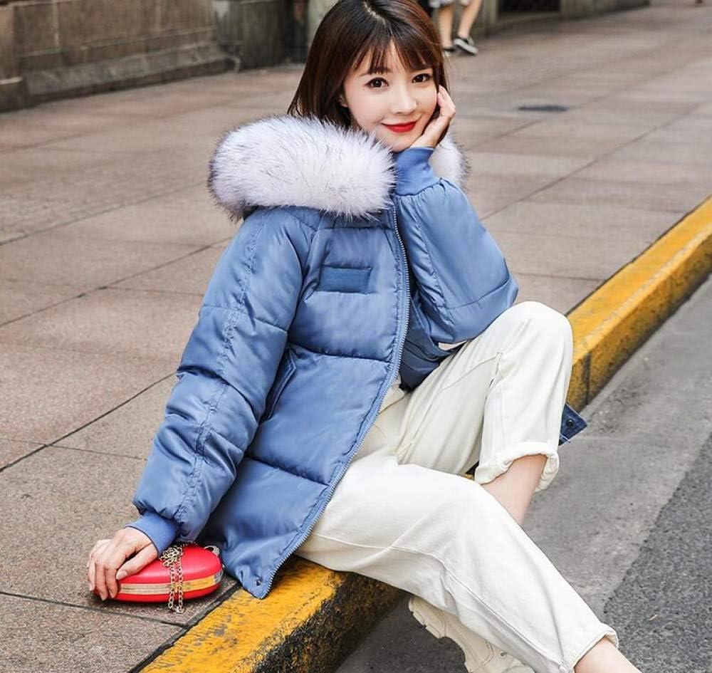 GUOYANGPAI Giacche di Piuma Giacca Invernale Colletto da Donna Cappotto Corto Allentato Cappotto BiancoGiacca Parka Spesso Caldo Blu