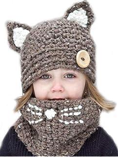 ARAUS Cappuccio Sciarpa Caps Cappello Earflap Gatto Scialli Animale da  Bimbo Bambini Lavorato a Maglia Invernale 315af26f3257