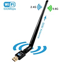 Wi-Fi USB Adapter, Ollivan 600Mbps with Antenna 5dBi Wifi Wireless Adapter Dongle WiFi Receiver (AC600 Multi OS, WPS)