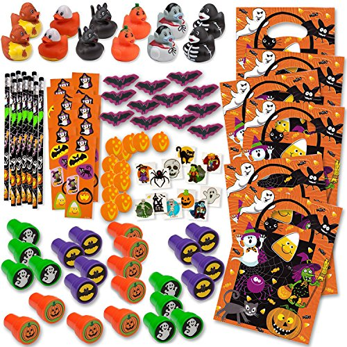 Bulk Mega 360 Halloween Party Favors Treats for Kids Toys Assortment 24 Ducks 24 Stampers 24 Pencils 24 Sticker Sheets 96 Mini Erasers 144 Glitter Tattoos and 24 Goodie Bags Enough for 24 Children