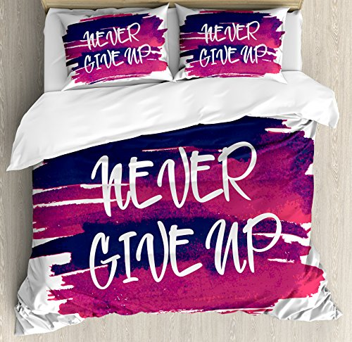 Fitness Duvet Cover Set Queen Size by Ambesonne, Watercolor Blot Brushstrokes with Never Give Up Text Encouraging Approach, Decorative 3 Piece Bedding Set with 2 Pillow Shams, Fuchsia Indigo White 39019 Single