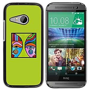Azul Verde Arte Moderno Cartel minimalista- Metal de aluminio y de plástico duro Caja del teléfono - Negro - HTC ONE MINI 2 / M8 MINI
