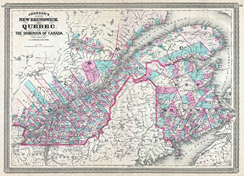 on Map of Quebec, Canada, 1870 | Historical Antique Vintage Decor Poster Wall Art | 18in x 24in ()