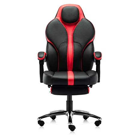 Kerms Gaming Chair Ergonomic High Back PU Leather Racing Style with Adjustable Armrest and Back Recliner Swivel Rocker Office Chair Black Red