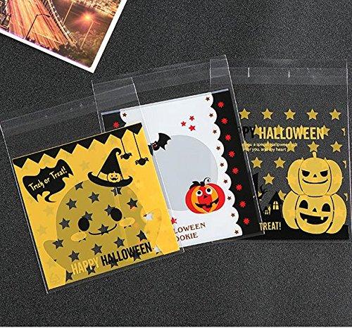 Saasiiyo 100pcs 3 Designs Halloween Decoration Plastic Cookie Packaging Bag Self Adhesive Biscuit Bag 1010cm