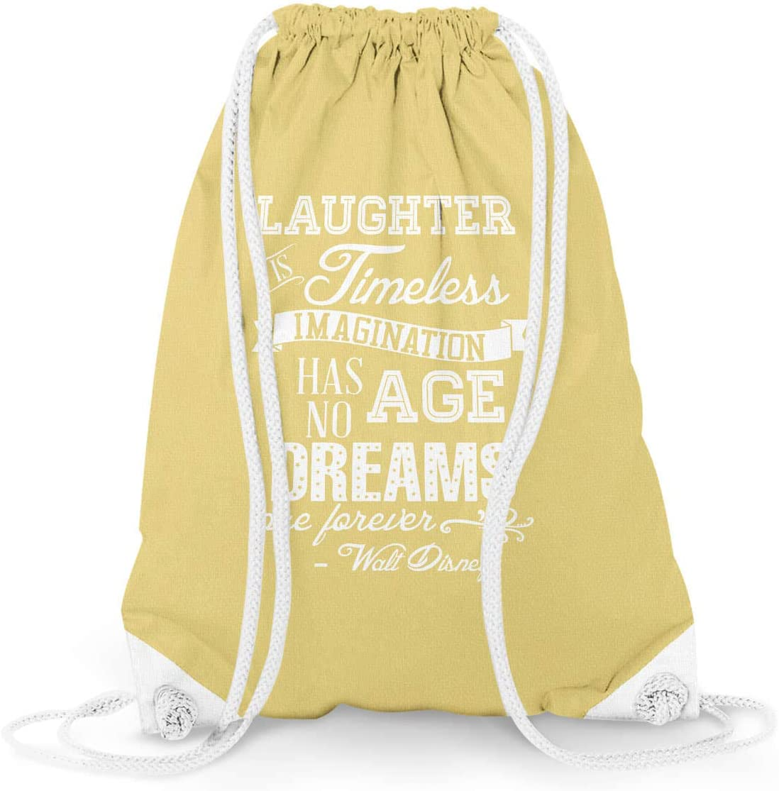 Laughter is Timeless Walt Disney Quote Yellow Large 13.3 x 17.3 - Drawstring Bag