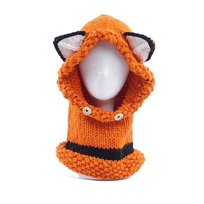 Niñas Cálido Sombrero de Invierno Lindo Fox Sombreros de Punto Tejer  Earflaps Beanie Cap Sombrero de 4b5cb0b207d