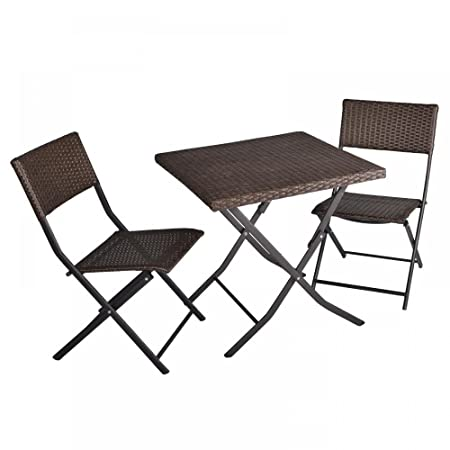 FDW 3-Piece Table and Chairs Patio Deck Outdoor Bistro Cafe Furniture Wicker Set