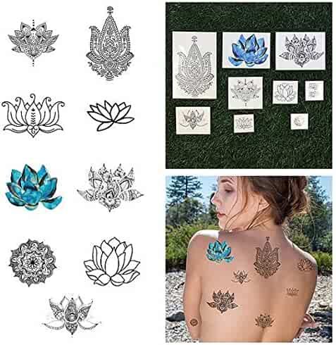 Tattify Assorted Lotus Flower Temporary Tattoos - Body, Mind and Spirit ( Complete Set of 18 Tattoos - 2 of each Set ) - Individual Styles Available and Fashionable Temporary Tattoos