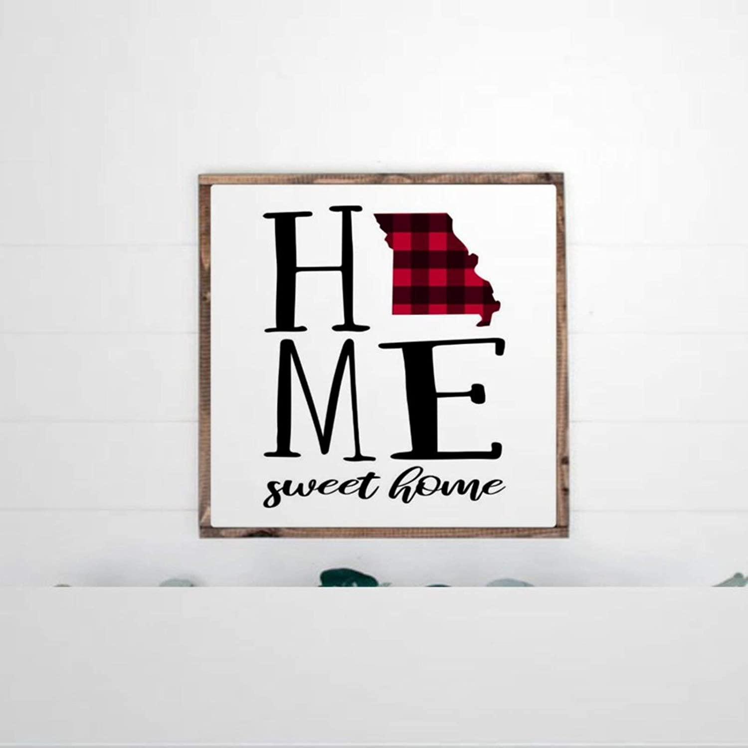 DONL9BAUER Framed Wooden Sign Home Sweet Home Missouri Wall Hanging Buffalo Plaid Print Farmhouse Home Decor Wall Art for Living Room