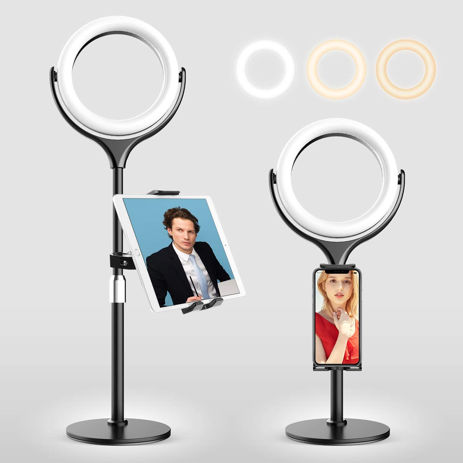 """Elitehood Tablet Stand Holder with Ring Light for Desk, Height Adjustable iPad Stand and Cell Phone Holder for 4-11.9"""" iPhone, iPad, LED Ring Light for iPad/Laptop Video Call, Video Recording, Selfie"""
