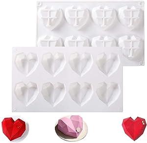 Diamond Heart-Love-Shape Silicone Chocolate Cheesecake-Mold - Oven Safe Mousse Dessert Cake Baking Pan White-Diamond Heart (8 Cavity-2 Pcs)