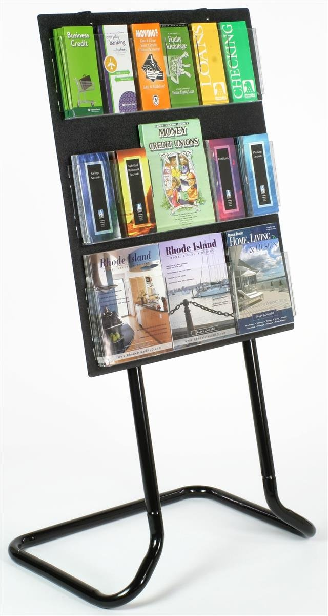 Freestanding Brochure Rack with Clear Acrylic Adjustable Pockets for 4x9 Pamphlets and 8.5x11 Magazines, Slant Back Design, - Black ABS Plastic and Metal Stand