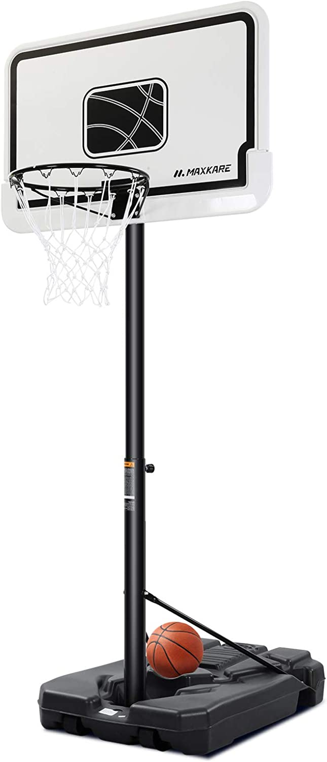 MaxKare Basketball Hoop Portable Basketball Goal System with 44 Inch Backboard Height Adjustable from 6ft 7in-10ft for Adults Teenagers Indoor Outdoor