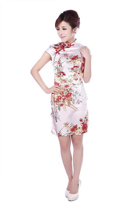 .JTC Kleid Erlesenes Chinesisch Seide Abendkleid Asiatische Chinesischen  Knöpfen: Amazon.de: Bekleidung