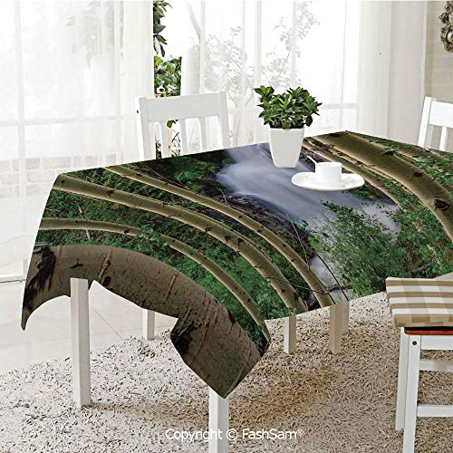 AmaUncle 3D Dinner Print Tablecloths Snow Melt Rushes Down in Waterfalls Uncompaghre Peak Spring Time Picture Table Protectors for Family Dinners (W55 xL72)]()