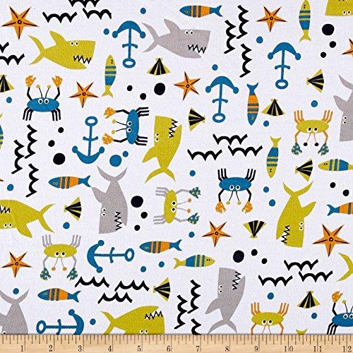Fabric Merchants Cotton Spandex Jersey Knit Sealife (1 Yard Cotton Fabric)