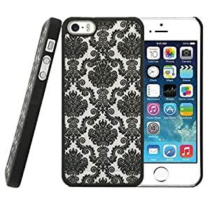 Acefast INC Rubberized Damask Vintage Pattern Matte Hard Case Cover for Apple Iphone 5 5s (Black)