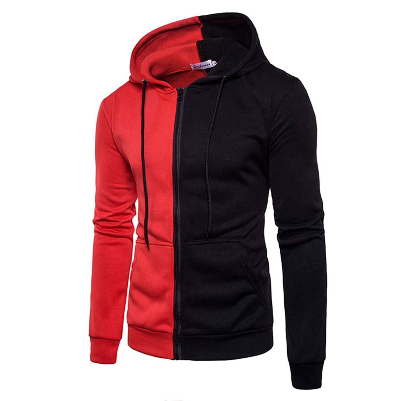 Kaured Fashion-hoodies Men Male Long Sleeve Hoodie Two-Color Stitching SweatMens Hoodies Slim Tracksuit XXL