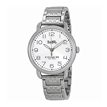 e7a6c1e8b273 COACH Women s Delancey 36mm Etched Bracelet Watch White Sunray Stainless  Steel One Size