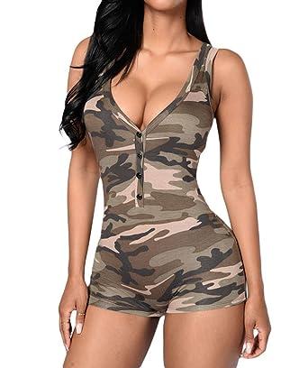 38eccb61d00 Amazon.com  Shawhuwa Womens Sexy V Neck Sleeveless Camouflage Romper  Bodysuit  Clothing